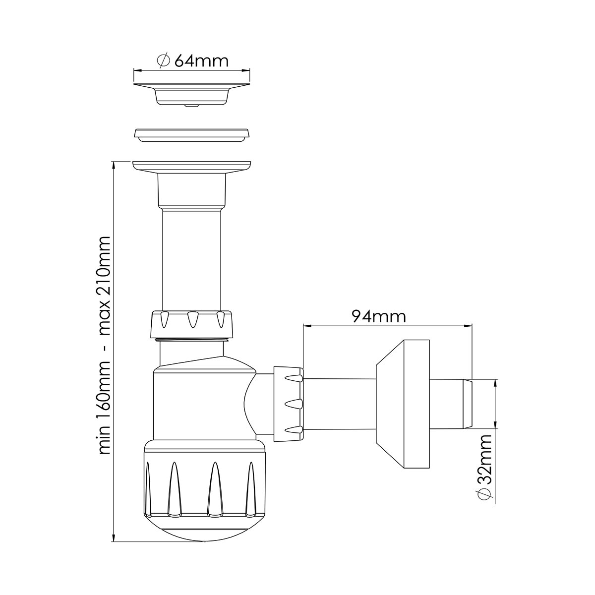 1 ¼ – Ø32,  Mini Taslı Lavabo Sifonu