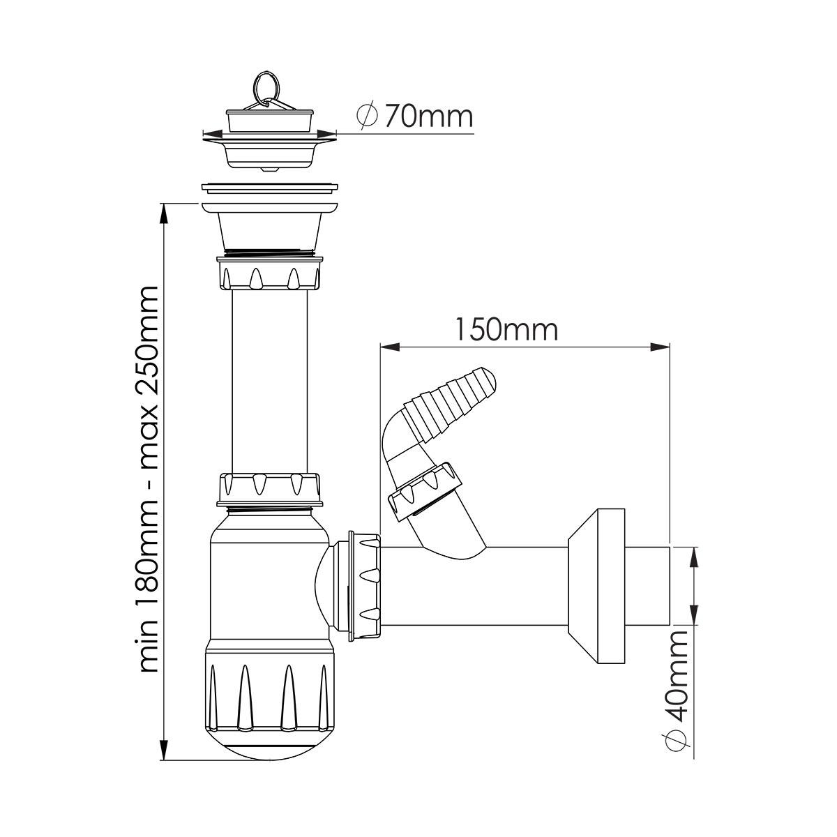 1 ½ – Ø40,  Midi Taslı, Makine Çıkışlı Evye Sifonu