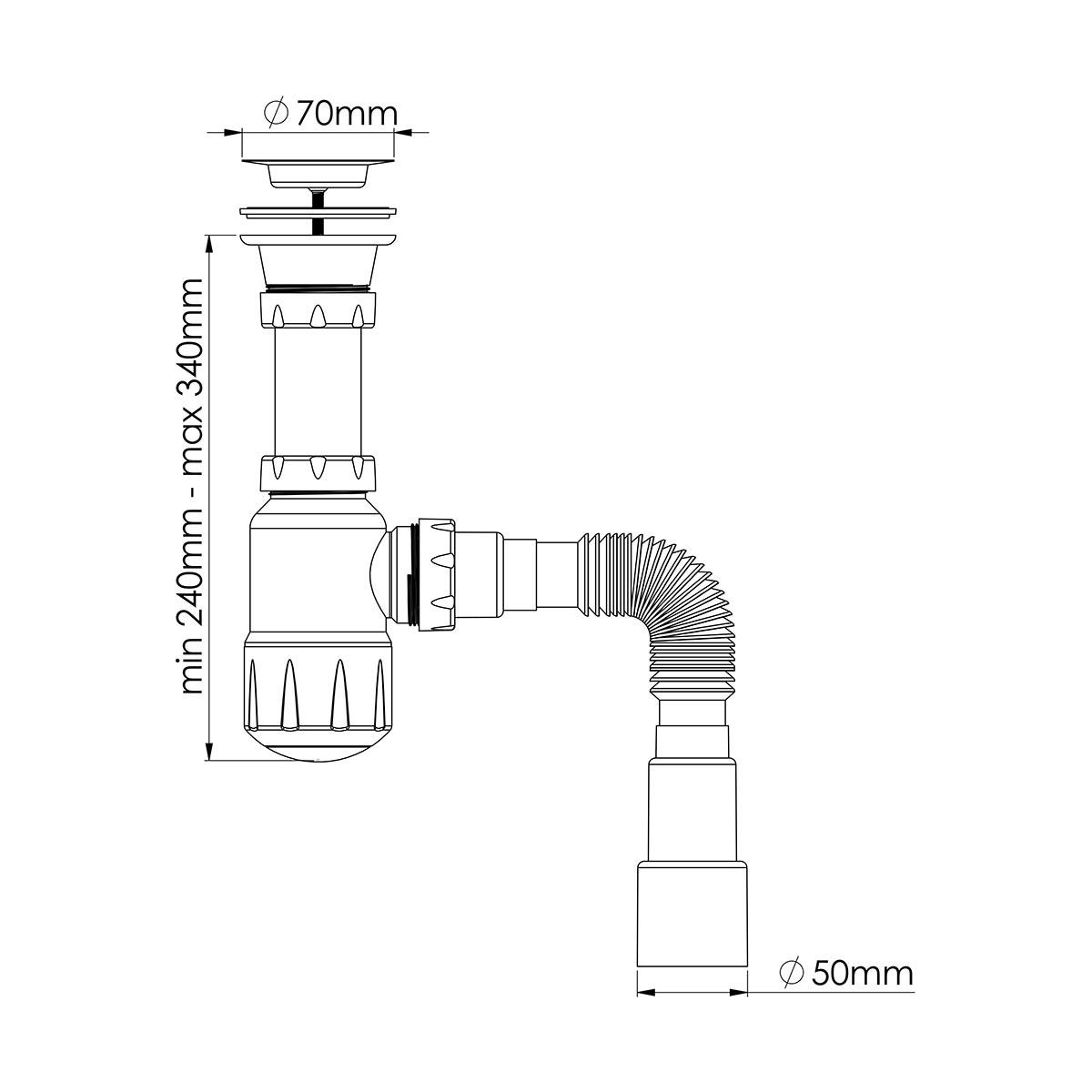 1 ½  Midi Taslı Lavabo/Evye Sifonu