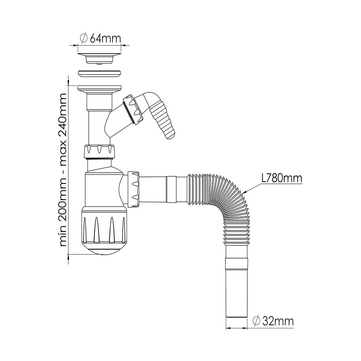 1 ¼  Çift Makine Çıkışlı Mini Taslı Lavabo Sifonu