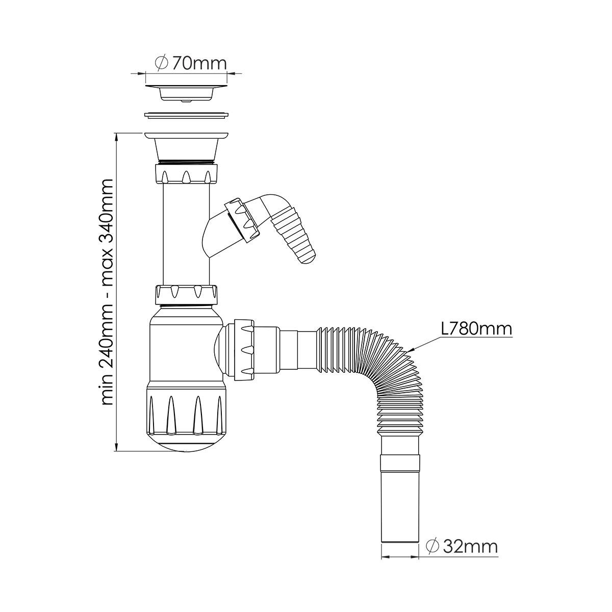 1 ½ Makine Çıkışlı, Midi Taslı Lavabo/Evye Sifonu