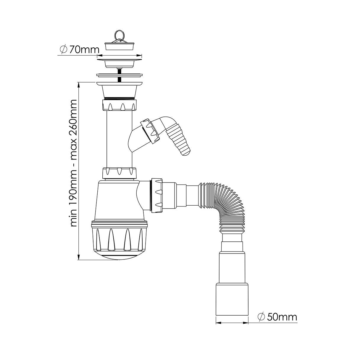1 ½ Makine Çıkışlı Maxi Taslı Evye Sifonu