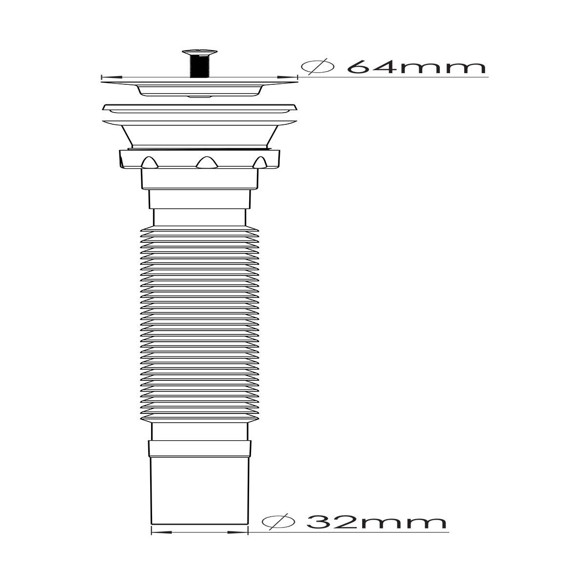1 ½ – Ø32, 304 Kalite Paslanmaz Vida ve 64 mm Süzgeç Uzun Körüklü Sifon