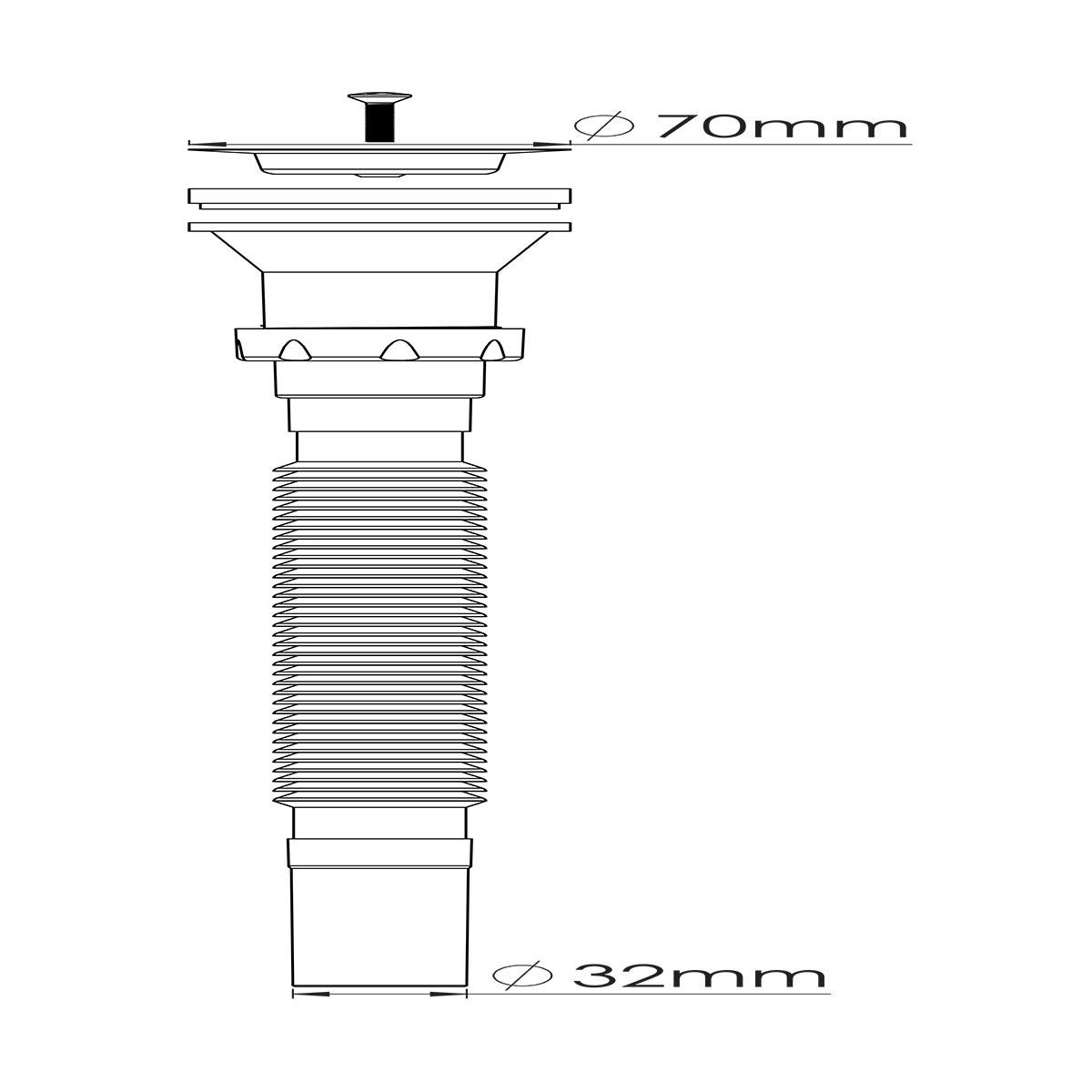 1 ½ – Ø32, 304 Kalite Paslanmaz Vida ve 70 mm Süzgeç Uzun Körüklü Sifon