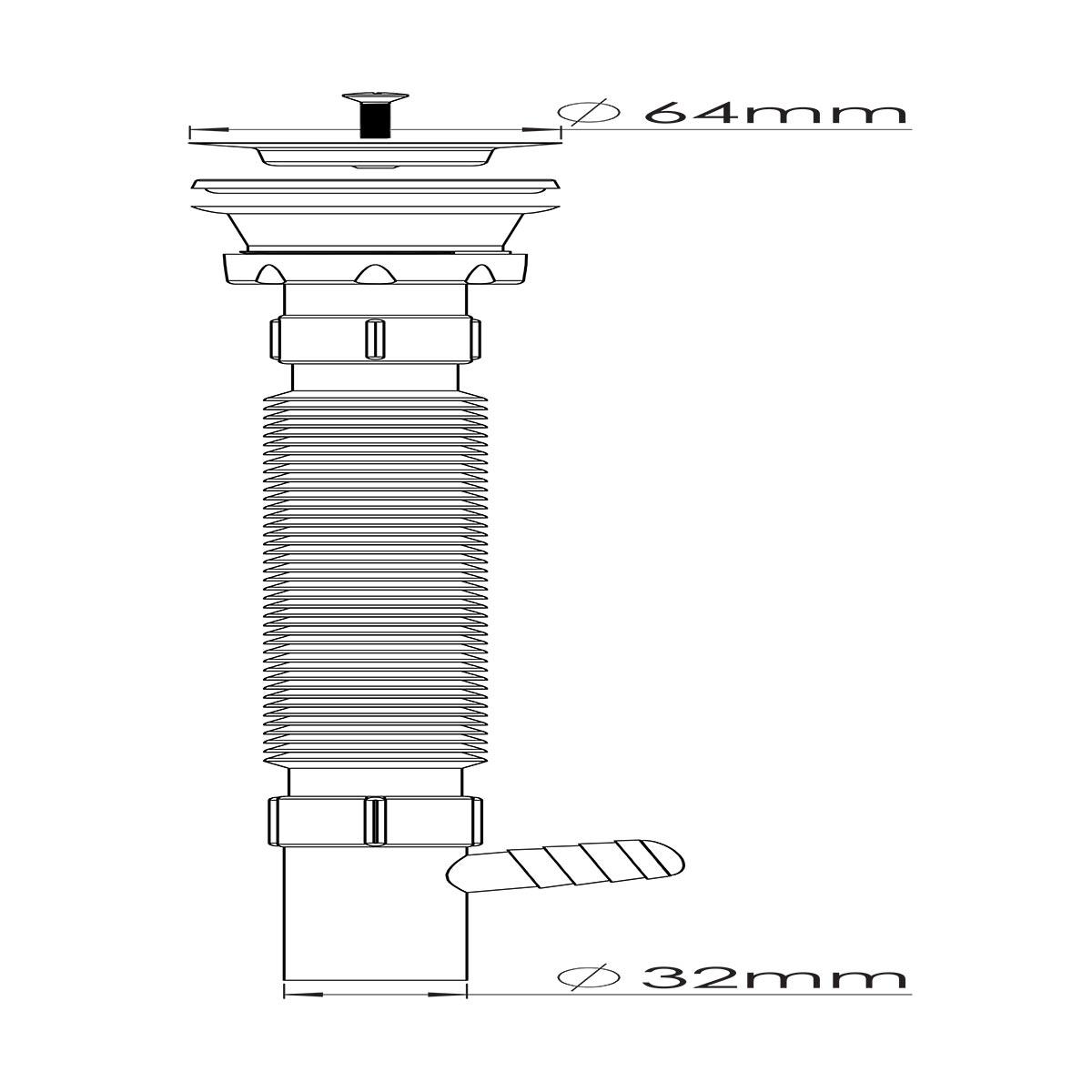 1 ½ – Ø32, Çamaşır Makine Çıkışlı Körüklü Sifon