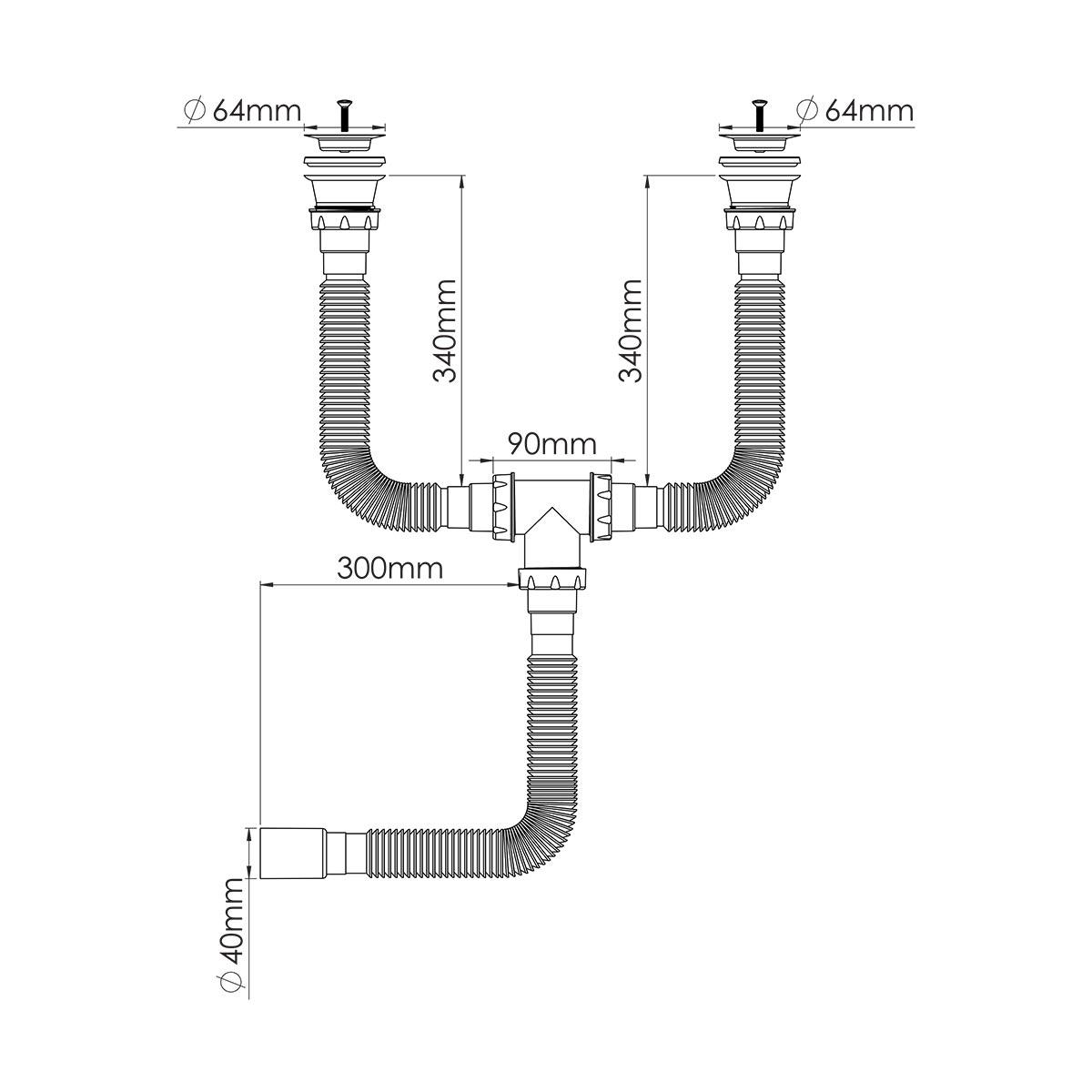 Çift Gözlü Körüklü Sifon,  1 ½ – Ø40, 304 kalite 64mm Süzgeç