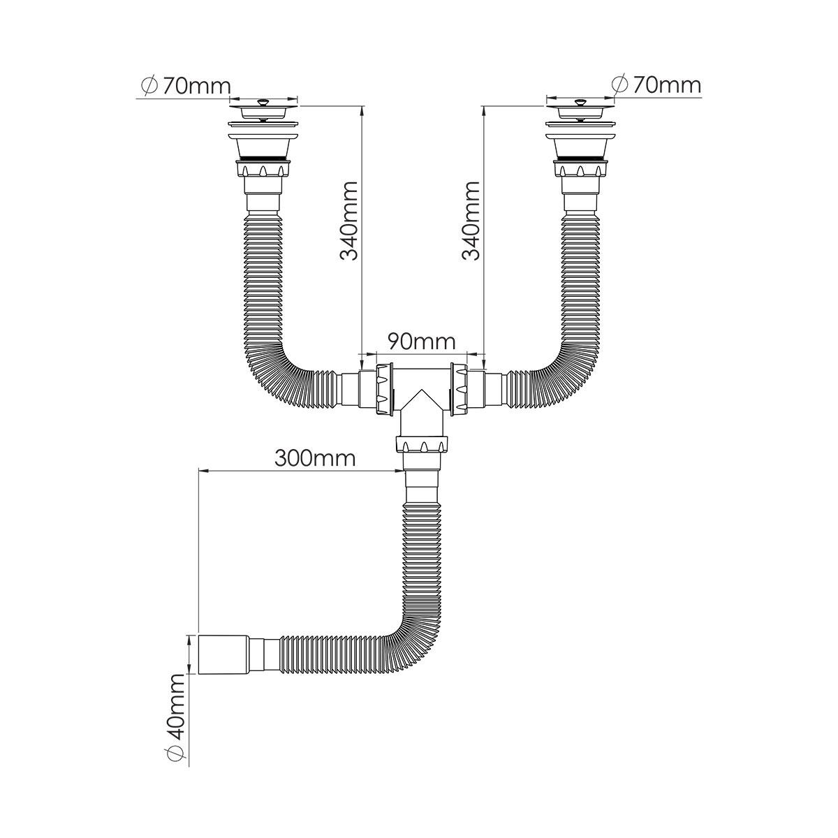 Çift Gözlü Körüklü Sifon,  1 ½ – Ø40, 304 kalite 70mm Süzgeç