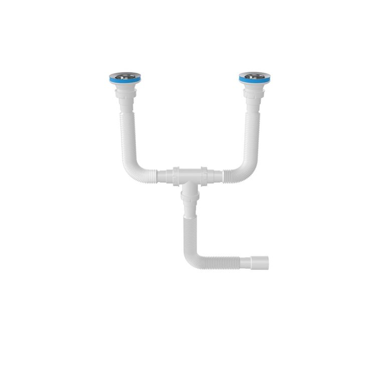 Çift Gözlü Körüklü Sifon,  1 ½ – Ø40, 304 kalite 80mm Süzgeç