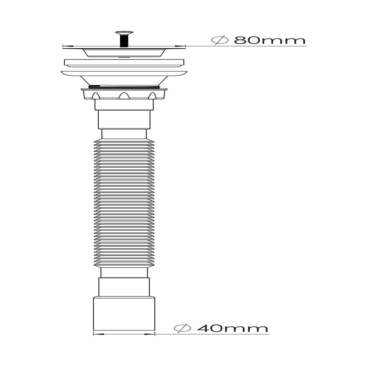 1 ½ – Ø40,  304 Kalite Paslanmaz Vida ve 80 mm Süzgeç