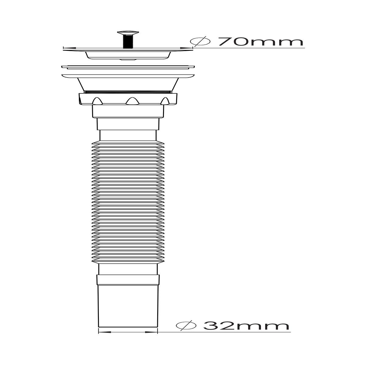 1 ½ – Ø32, 304 Kalite Paslanmaz Vida ve 70 mm Süzgeç