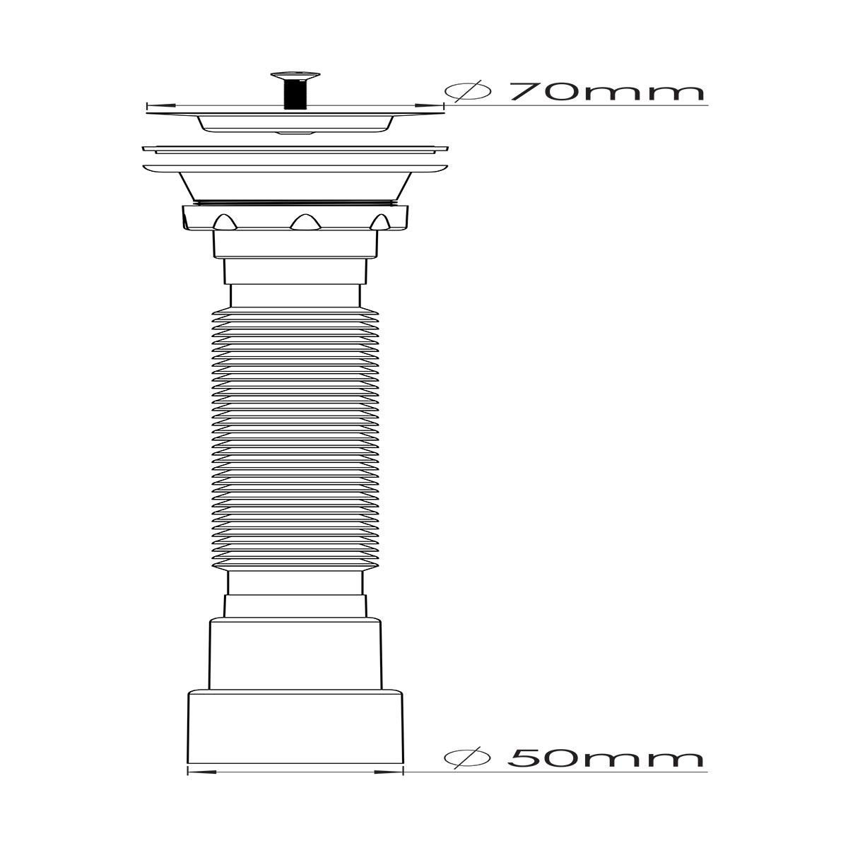 1 ½ – Ø50, 304 Kalite Paslanmaz Vida ve 70 mm Süzgeç Uzun Körüklü Sifon