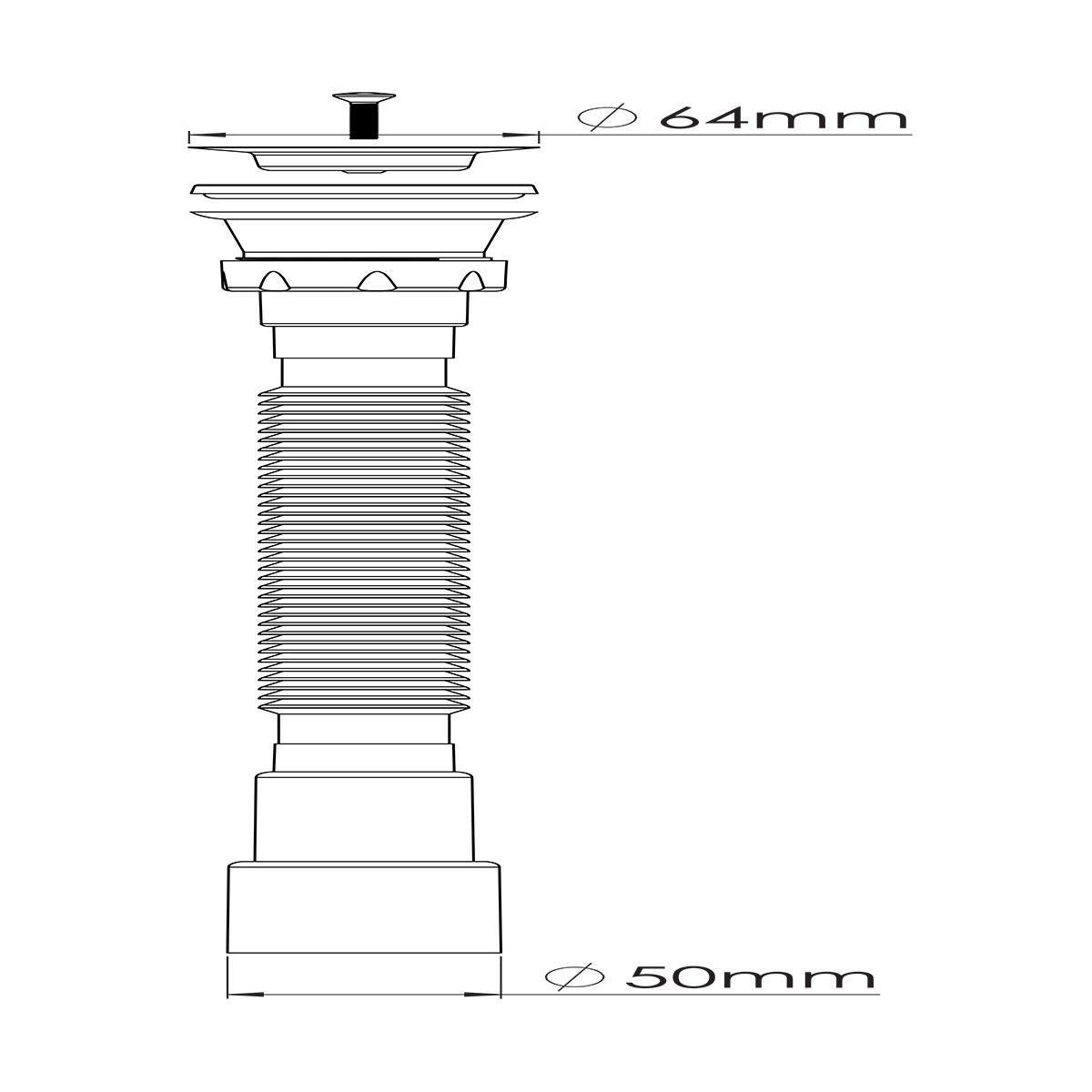 1 ½ – Ø50,  304 Kalite Paslanmaz Vida ve 64 mm Süzgeç