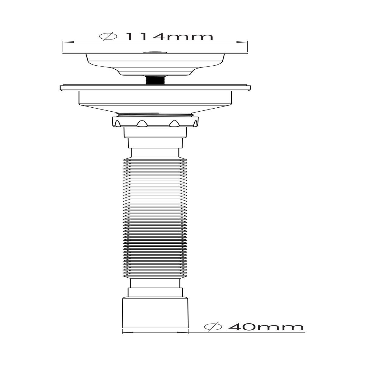1 ½ – Ø32/40/50 Çıkış Seçenekli, Çöpmak Kafa Körüklü Sifon