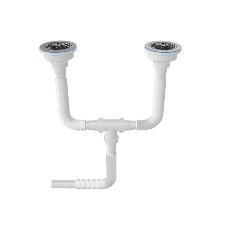 1 ½ – Ø32/40/50 Çıkış Seçenekli, Çift Gözlü Çöpmak Kafa Körüklü Sifon