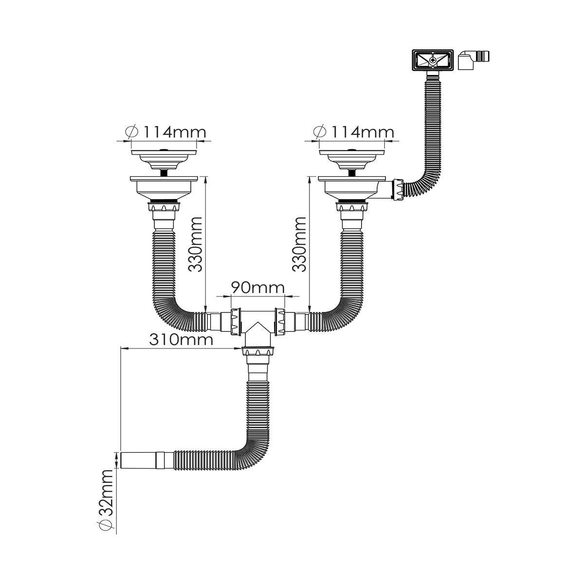 1 ½ – Ø32/40/50 Çıkış Seçenekli,