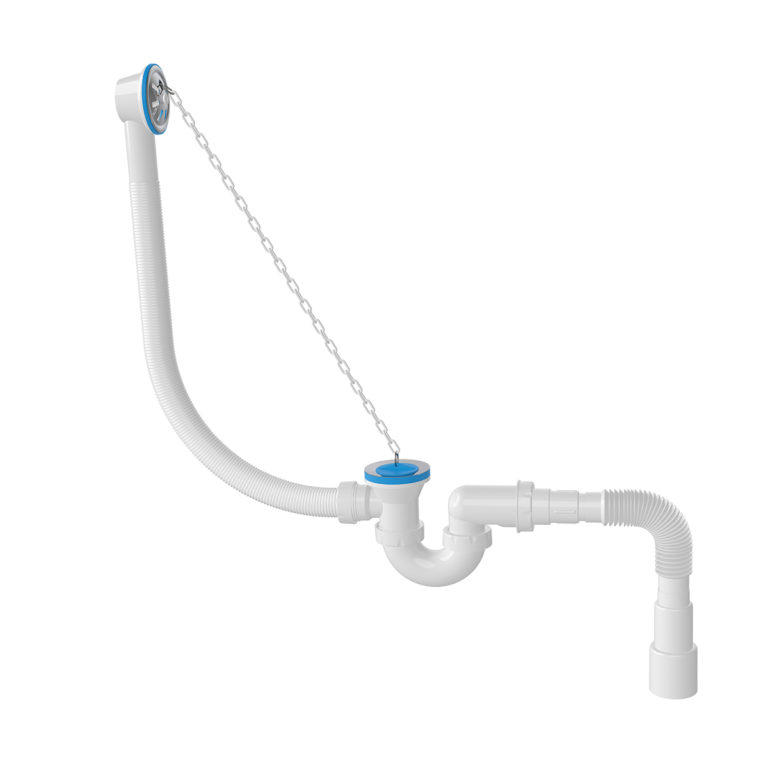 Bathtub Siphon -S- Model with Flexible Outlet