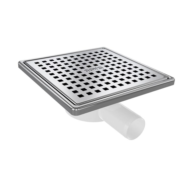 15x15cm Horizontal  Ø32 outlet floor drain with stainless grid and frame