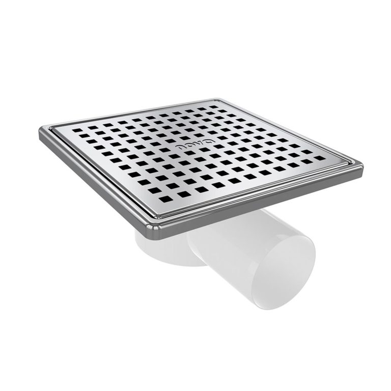 15x15cm Horizontal Ø50 outlet floor drain with stainless grid and frame