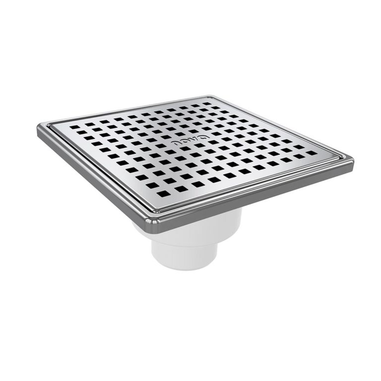 15x15cm Vertical Ø50 outlet floor drain with stainless grid and frame