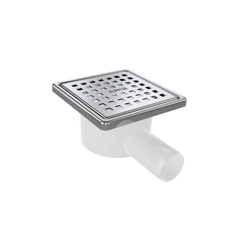 10x10cm Horizontal  Ø32 outlet floor drain with stainless grid and frame