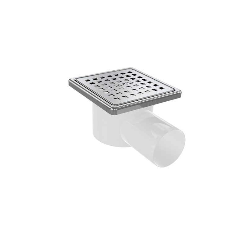 10x10cm Horizontal Ø50 outlet floor drain with stainless grid and frame