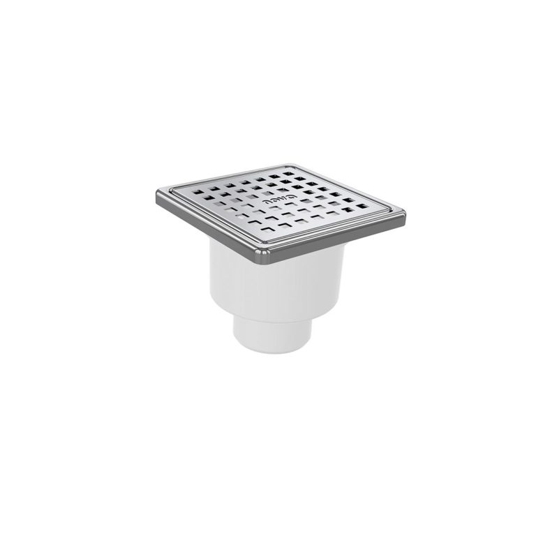 10x10cm Vertical Ø50 outlet floor drain with stainless grid and frame