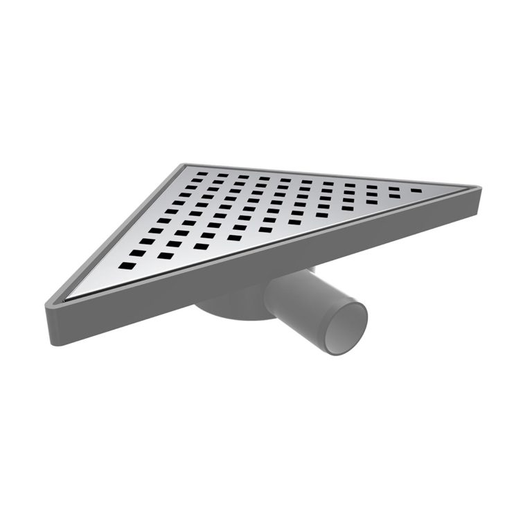 20x20cm Horizontal  Ø32 outlet triangle floor drain with stainless grid