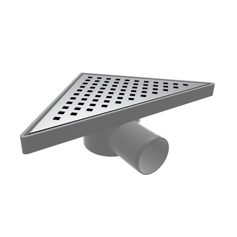 20x20cm Horizontal Ø50 outlet triangle floor drain  with stainless grid