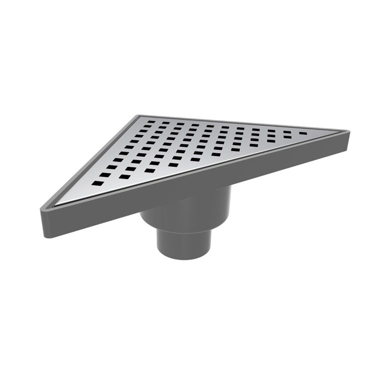 20x20cm Vertical Ø50 outlet triangle floor drain  with stainless grid
