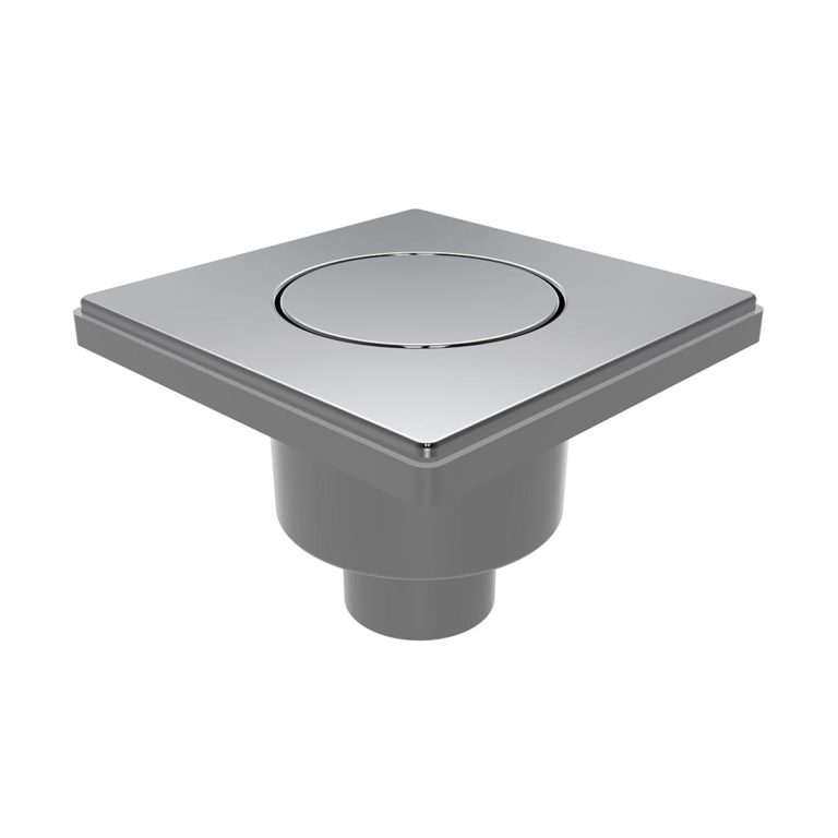 15x15cm Vertical Ø50 outlet floor drain with stainless  pop-up