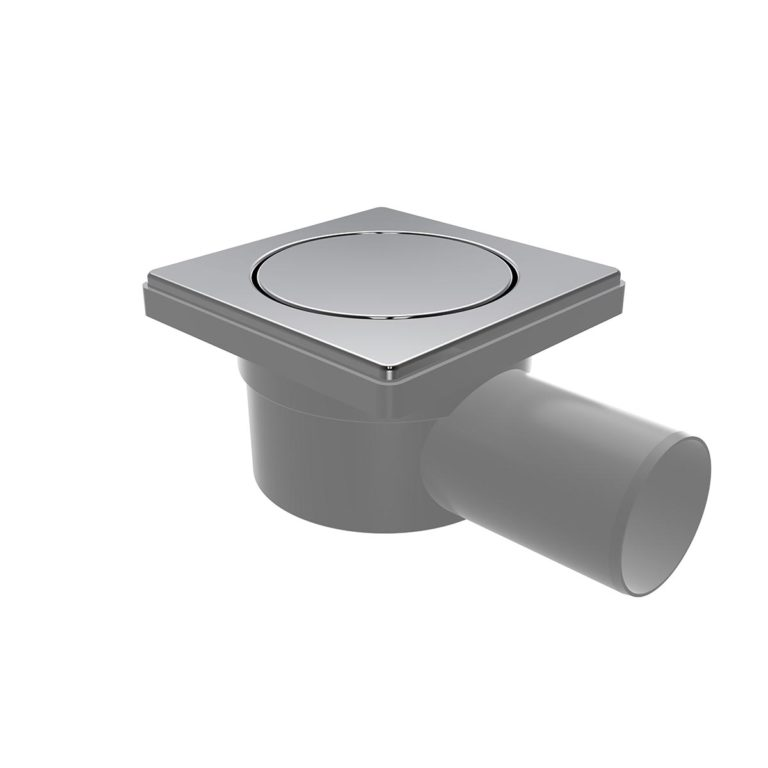 10x10cm Horizontal Ø50 outlet floor drain with stainless pop-up