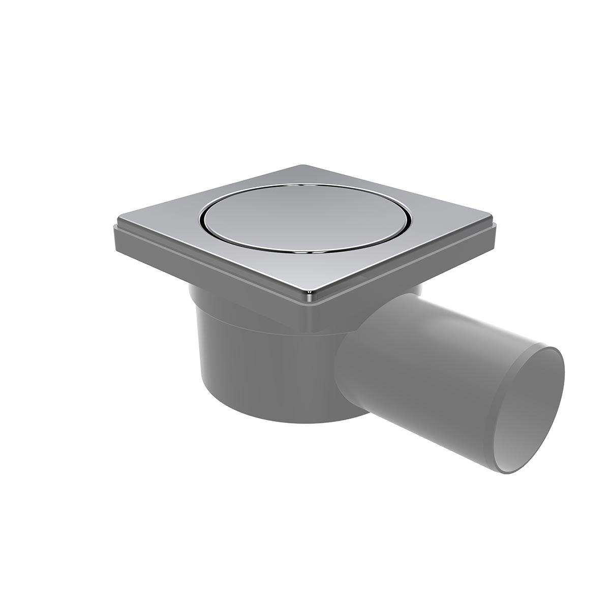 10x10cm Yandan Ø50 çıkışlı, paslanmaz pop-up'lı yer süzgeci