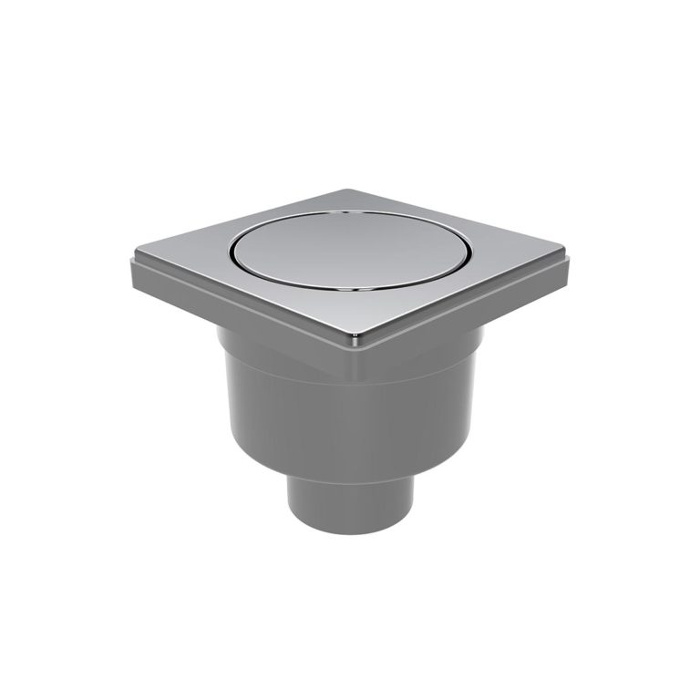 10x10cm Vertical Ø50 outlet floor drain with stainless  pop-up