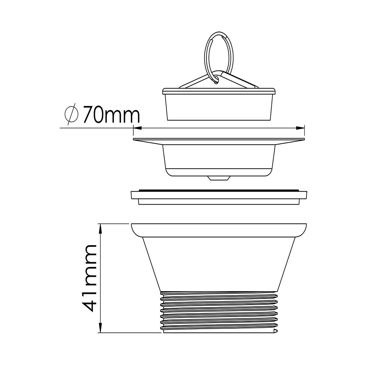 1 ½ – 70mm Süzgeç Tapalı Sifon Su Girişi