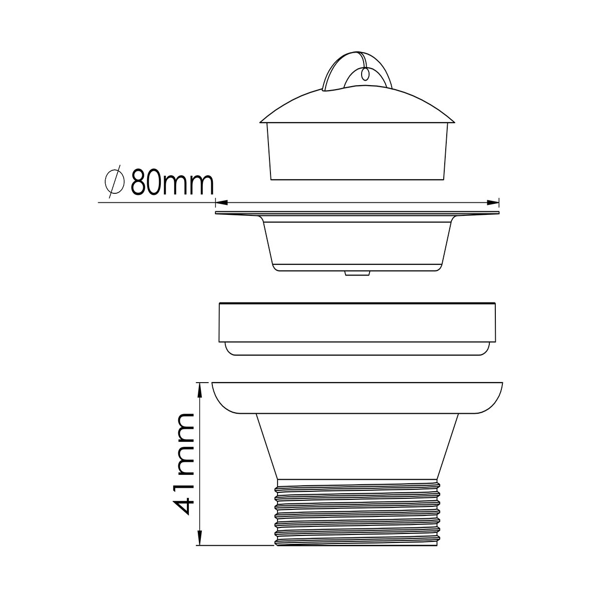 1 ½ – 80mm Süzgeç Tapalı Sifon Su Girişi