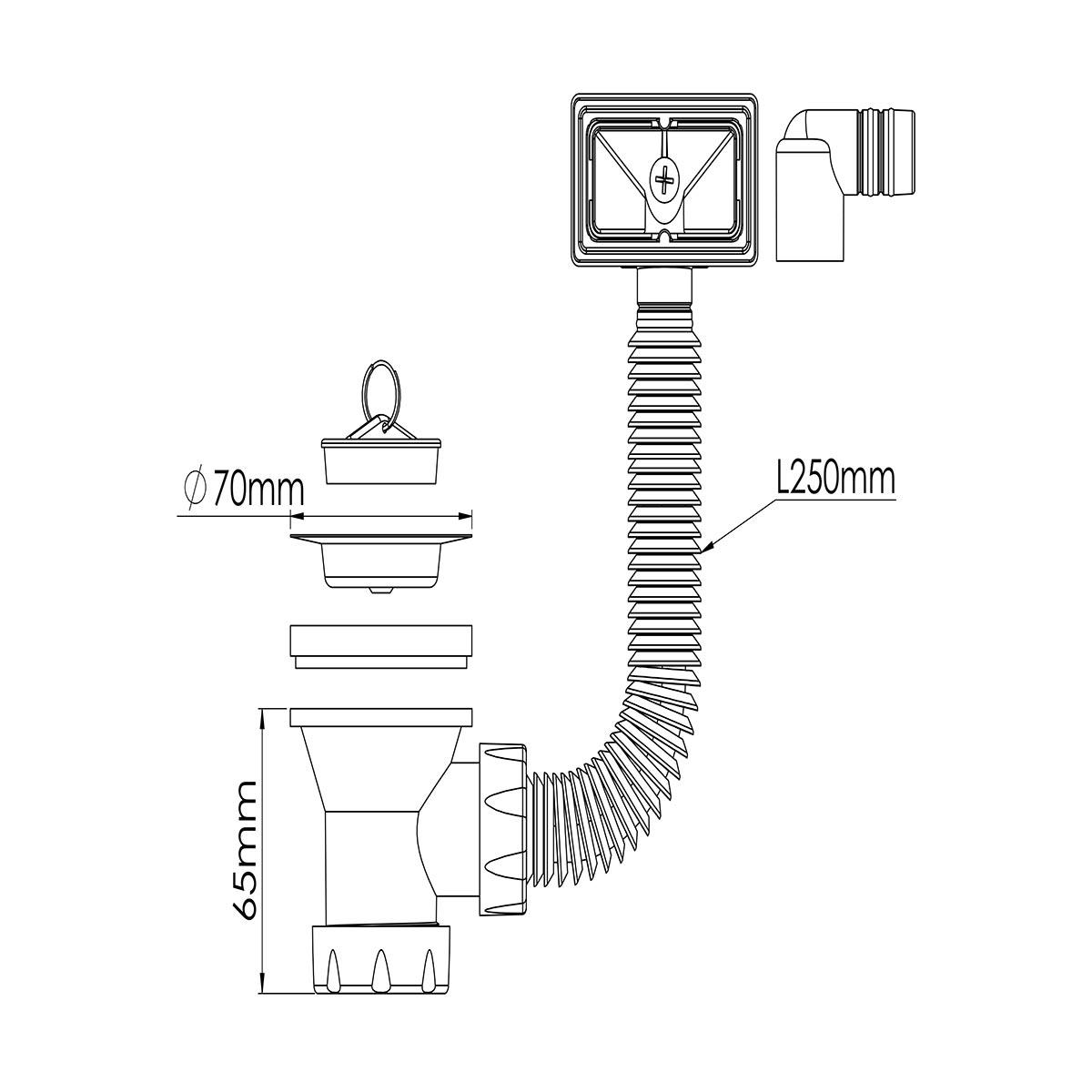 1 ½ – 70mm Süzgeç Taşmalı, Tapalı Sifon Su Girişi