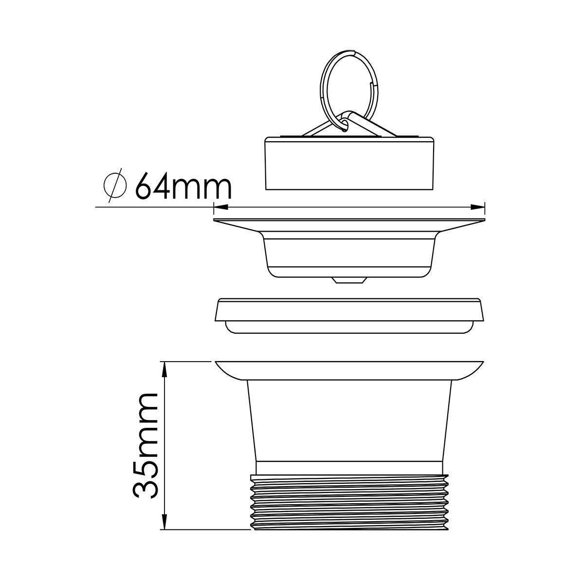 1 ¼ – 64mm Süzgeç Tapalı Sifon Su Girişi
