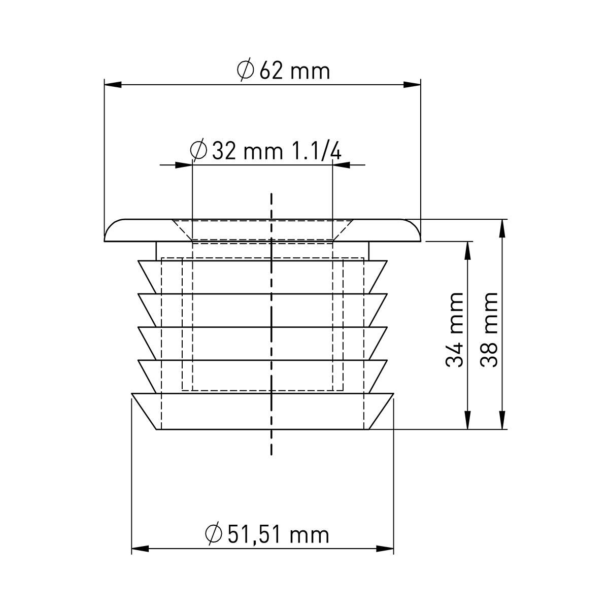 60mm x 32mm (1 ¼'') U-Pvc Sifon Adaptör Contası