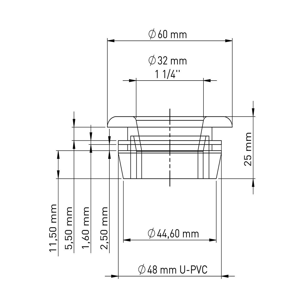 48mm x 32mm (1 ¼'') U-Pvc Sifon Adaptör Contası