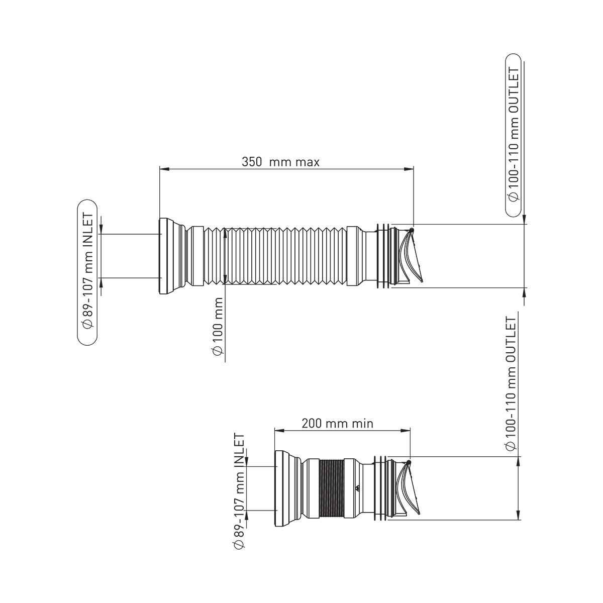 35 cm Check Valve Çıkışlı Körüklü Çelik Telli Kada