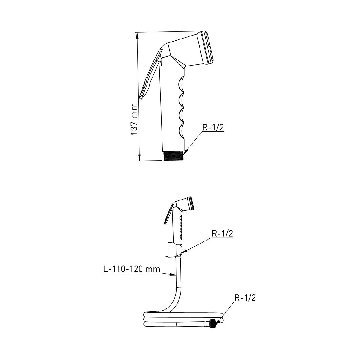 ABS Kalite Beyaz – Gri Taharetmatik, 120cm 360° Dönerli Beyaz Hortum