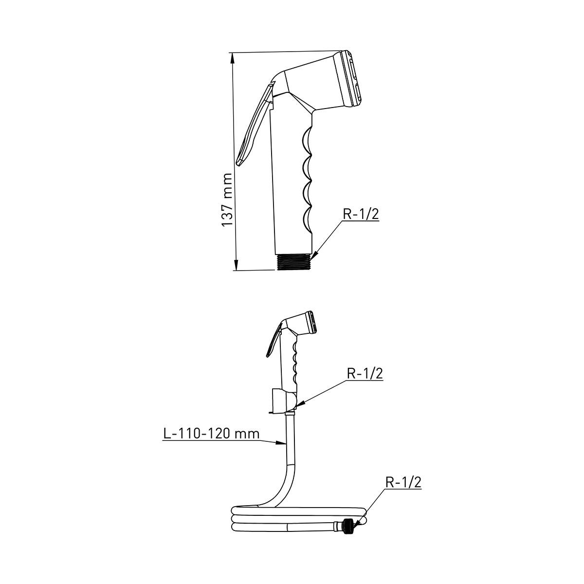 ABS Kalite Beyaz – Krom Taharetmatik, 120cm 360° Dönerli Beyaz Hortum