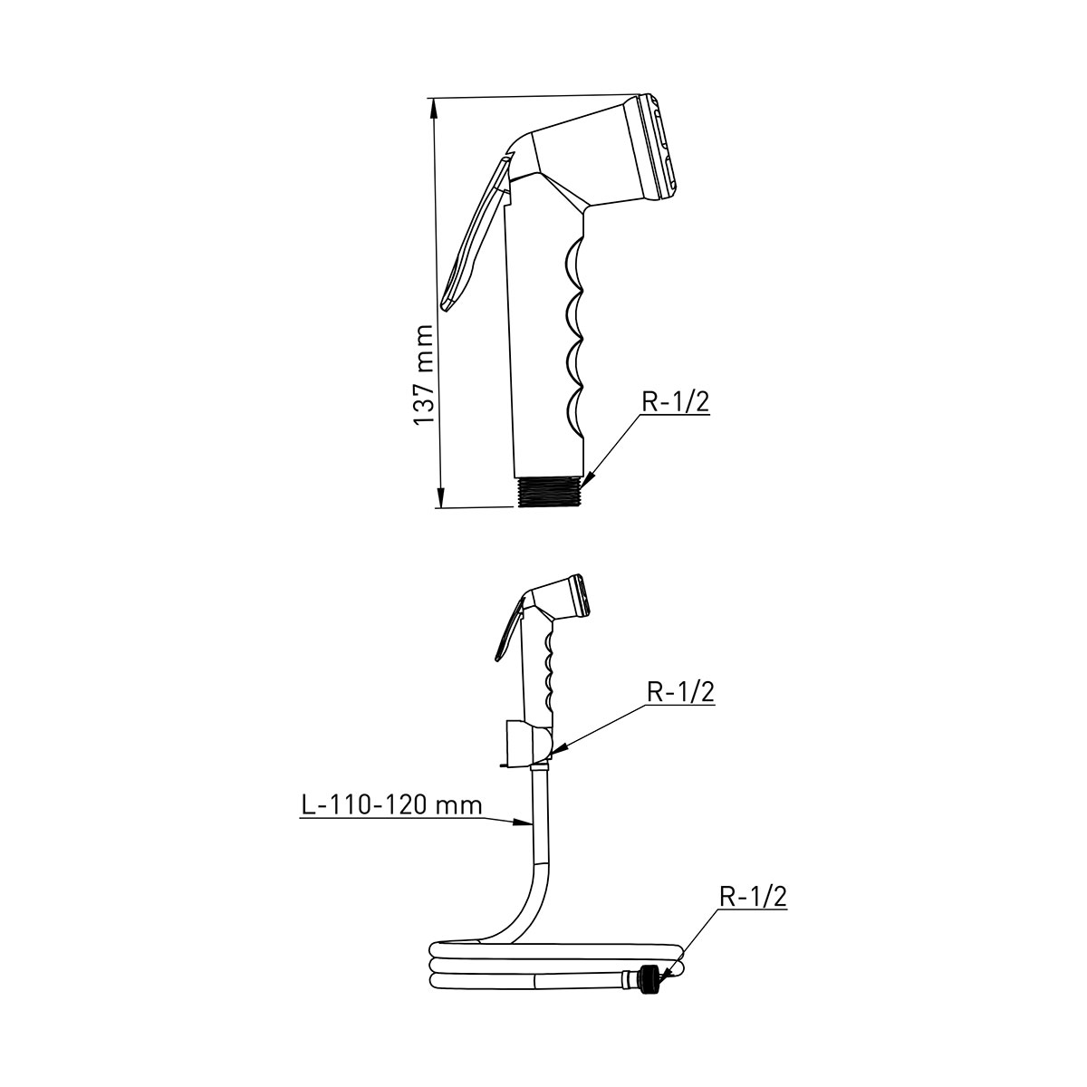 ABS Kalite  Komple Krom Taharetmatik, 120cm 360° Dönerli Paslanmaz Çelik Hortum